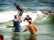 Visually Impaired Men Surfing in NY