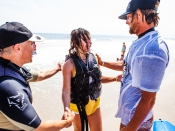 Will Skudin Hanging Out with Visually Impaired Surfers